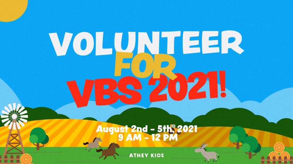 Poster forVolunteer for VBS 2021